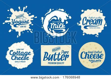Milk Product Logo. Milk, Yogurt Or Cream Splashes