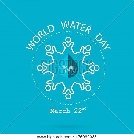Water drop and world map with people icon vector logo design template.World Water Day icon. World Water Day idea campaign for greeting card and poster.Vector illustration
