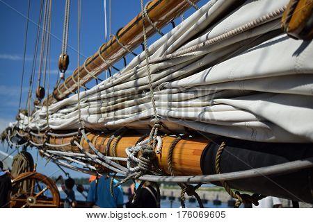 sail, boom and ropes tall ships