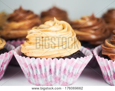 Chocolate Cupcake With Mixed Frosting Cream, In Pink Paper Cups