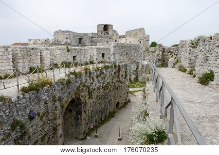 Monte Sant'Angelo Italy - 28 June 2016: Castle of Monte Sant'Angelo on Puglia Italy.