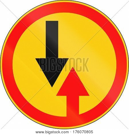 Road Sign Used In Belarus - Give Way To Oncoming Traffic