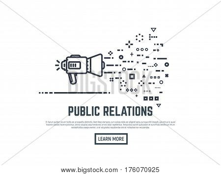 Public relations concept. Loudspeaker or megaphone line style illustration. Abstract lines and dots representing information. PR target audience. Learn more button.