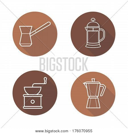 Coffee brewing equipment. Flat linear long shadow icons set. Moka pot, turkish cezve, grinder, french press. Vector line illustration