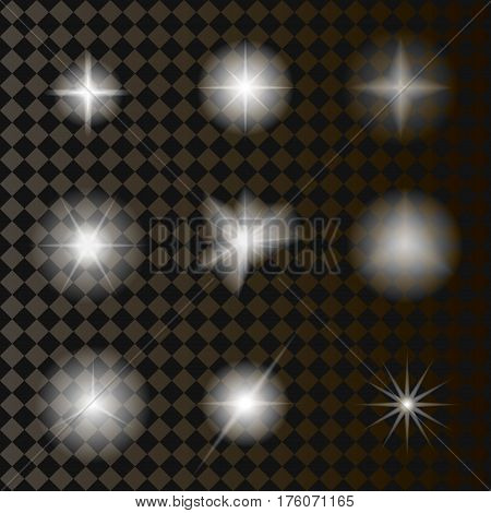 A set of glowing transparent objects. Luminous elements of vector illustrations.