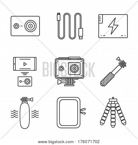 Action camera linear icons set. Sport cam, usb cable, battery, phone connection, waterproof case, selfie monopod stick, floating grip, box, tripod. Thin line contour illustrations. Isolated. Vector