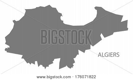 Algiers Algeria map grey illustration silhouette province