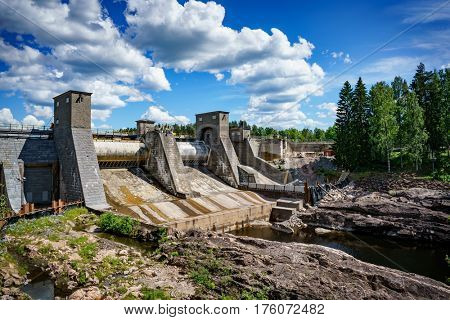 Hydroelectric power station dam in Imatra Finland.