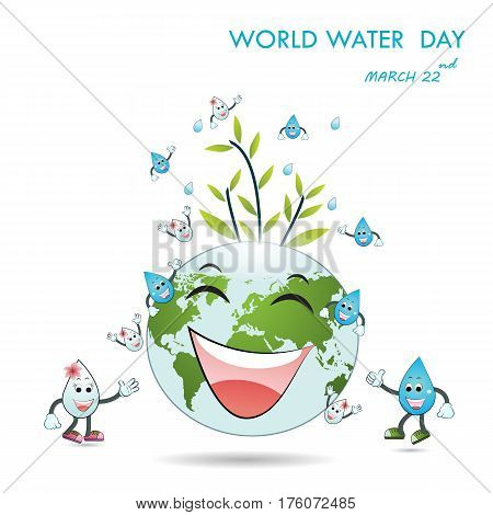 World water day illustration cartoon design.Water cartoon mascot character.World Water Day icon.Water drop icon vector logo design template.World Water Day idea campaign.Vector illustration