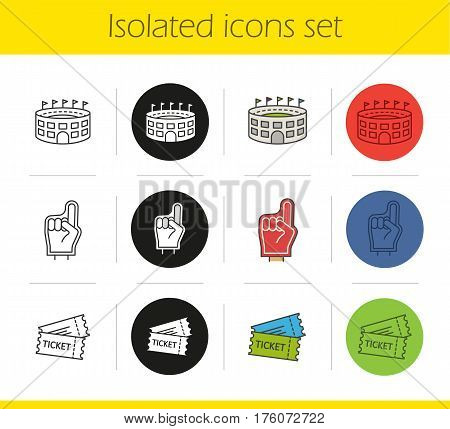 American football icons set. Linear, black and color styles. Red foam finger, game tickets, baseball arena. Isolated vector illustrations