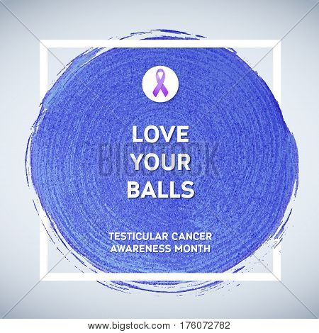 Testicular Cancer Awareness Creative Grey and Purple Poster. Brush Stroke and Silk Ribbon Symbol. National Testicular Cancer Awareness Month Banner. Brush Stroke and Text. Medical Square Design.