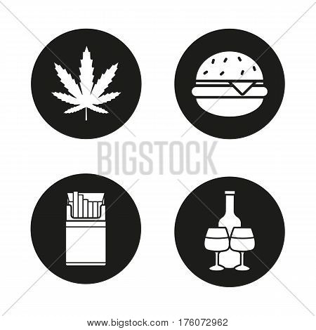 Bad habits black icons set. Unhealthy lifestyle addictions. Marijuana leaf, fast food burger, open cigarette pack, alcohol bottle with glasses. White silhouettes illustrations. Vector logo concepts