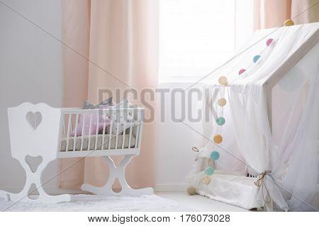 Crib And Canopy Playhouse In Nursery