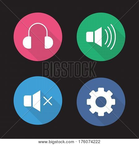 Music player menu buttons. Flat design long shadow icons set. Mute on and off, headphones and settings gear. Vector silhouette illustration