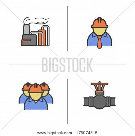 Industrial complex color icons set. Chemical factory, chief and workers, gas pipe valve. Isolated vector illustrations