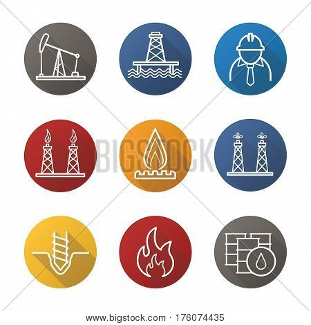Oil industry flat linear long shadow icons set. Pump jack, barrels, drilling bit, gas and fuel production platforms, flammable sign, industrial worker, offshore well. Vector line illustration