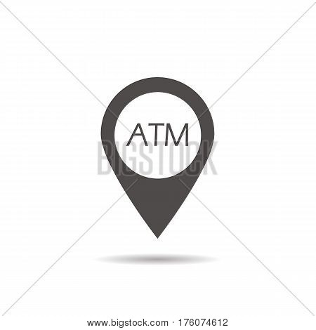 ATM machine location icon. Nearby bank pinpoint. Drop shadow map pointer silhouette symbol. Vector isolated illustration