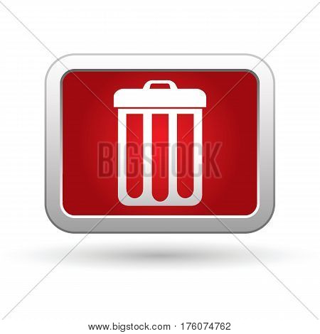 Trash can icon on the button. Vector illustration