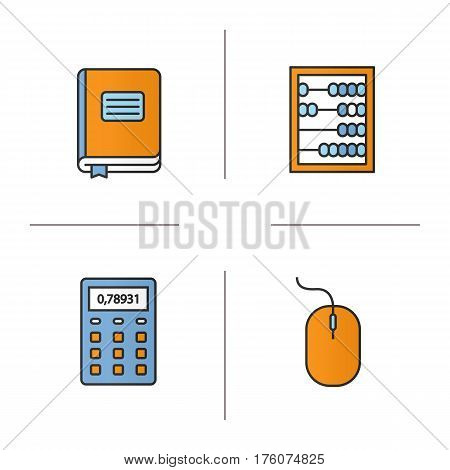 Accounting color icons set. Bookkeeper's journal, abacus, calculator, computer mouse. Isolated vector illustrations