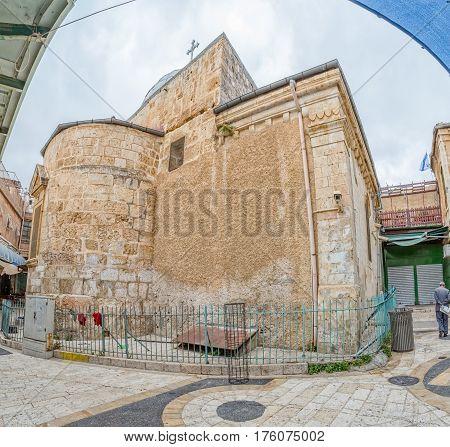 Greek orthodox church of Saint John the Baptist exterior view from the street, Jerusalem Israel.