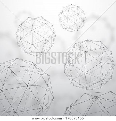 Low poly polygon mesh grid and 3d shapes on unfocused background
