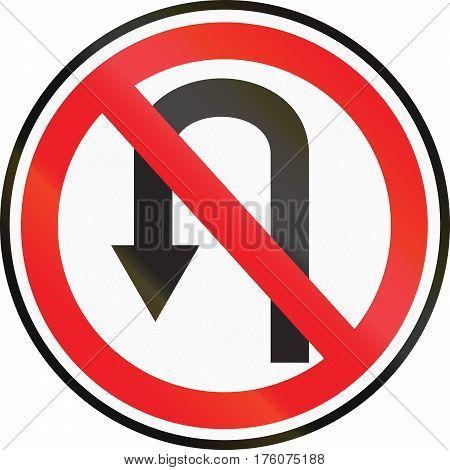 Belarusian Regulatory Road Sign - No U-turns
