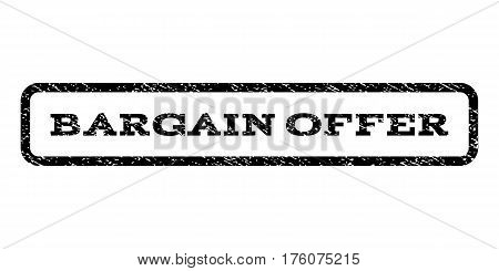 Bargain Offer watermark stamp. Text caption inside rounded rectangle frame with grunge design style. Rubber seal stamp with unclean texture. Vector black ink imprint on a white background.