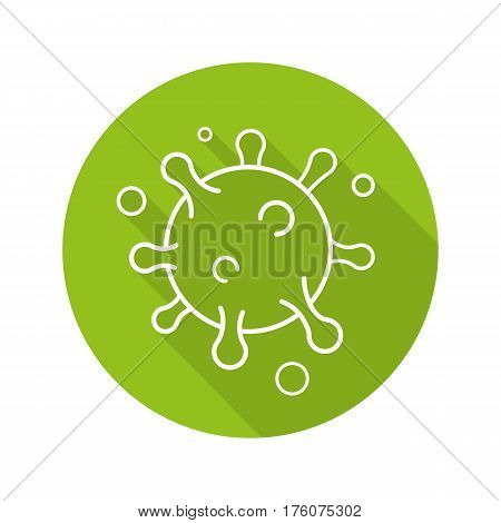 Virus flat linear long shadow icon. Bacteria, germ, bacillus. Round green microorganism. Vector line symbol