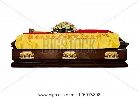 A Brown Casket At A Traditional Chinese Funeral Services