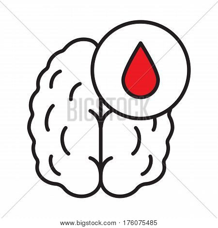 Stroke linear icon. Thin line illustration. Human brain with blood drop. Cerebral hemorrhage contour symbol. Vector isolated outline drawing