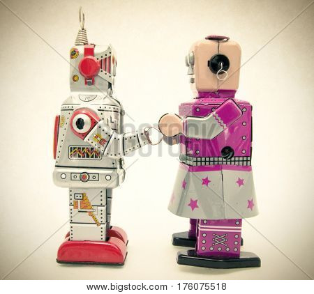 concept romatic love with vintage robot toys