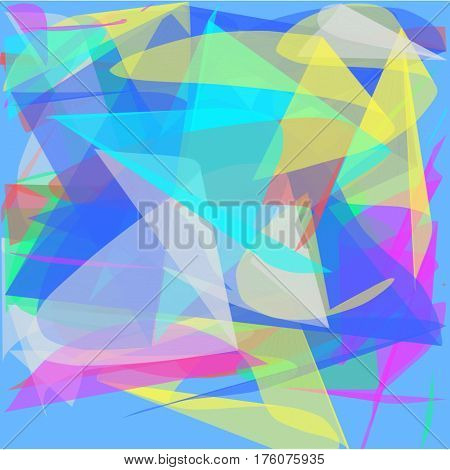 Abstract blue background long green and yellow and blue and red and pink lines are twisted in the form of petals and a fan lined the entire figure