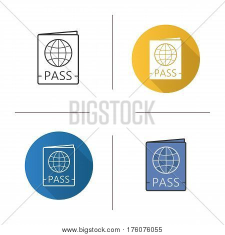 International passport icon. Flat design, linear and color styles. Pass control. Isolated vector illustrations