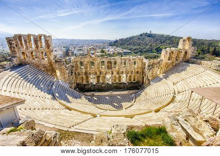 ruins of ancient theater of Herodion, Athens