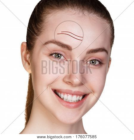Woman face shows age-related mimic wrincles over white background.