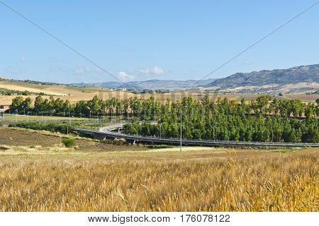 Landscape of Sicily with Highway Interchange in the spring
