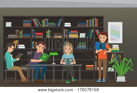 Four characters, men and women, sit at table with lamp on it and read books in Library, big bookcase as background. Education process illustration. Cartoon characters in library vector illustration.