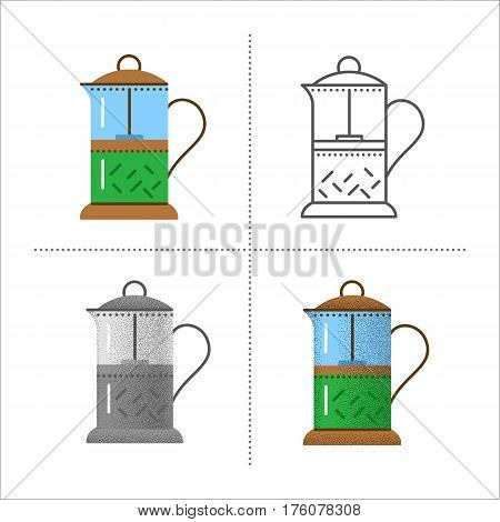 Set of french press icons in different styles: retro, flat, thin line, black and white with vintage texture. teapot for tea or coffee maker. Vector illustration isolated on white background.
