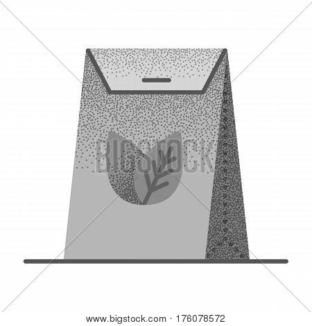 Set of black and white vintage tea icons with retro texture. Tea packed in a paper bag. Packaging for herbal tea or spices. Vector vintage icon. Illustration isolated on white background.