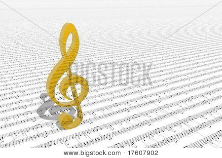 treble clef on sheet of printed music