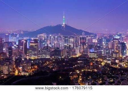 Seoul City Skyline And N Seoul Tower In Seoul In Misty Day, South Korea.