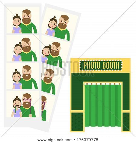 Modern young couple taking selfie photo in photo booth. Flat and photo booth icon. Hipster Man and woman family having fun and get romantic memories. Vector illustration isolated design elements