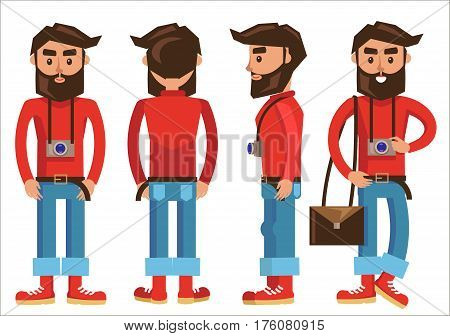 Photographer with hanging camera and bag in various poses. Vector poster of man characters with dark hair and beard, wearing red sweater and shoes, blue trousers. Male person constructor template