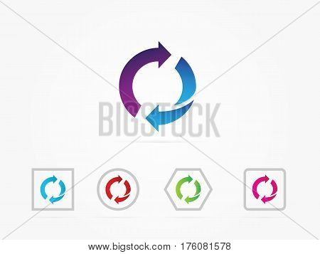 Illustration Reset button reload arrows symbol. Flat spin illustration. Arrows rotate icon multicolored