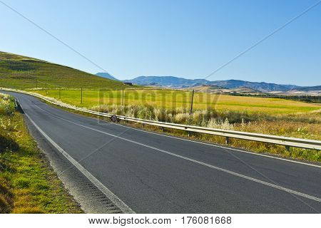 Asphalt Road between Wheat Fields on the Hills of Sicily
