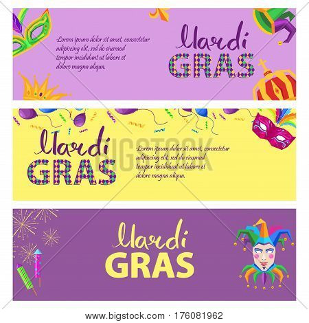 Mardi Gras. Carnival invitation three-colored poster with king and queen crowns, bright masks with feathers, clown hat, balloons, confetti and fireworks. Vector illustration of advertisement signboard.