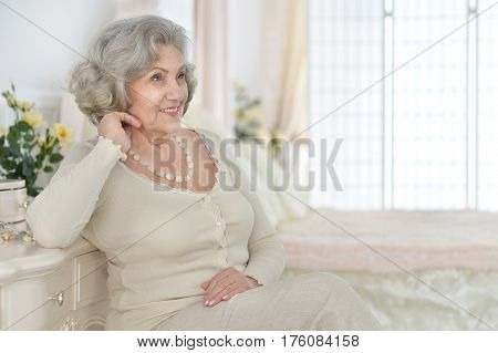 Portrait of a beautiful happy elderly woman
