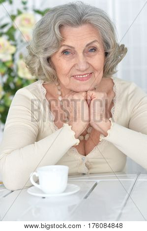 Portrait of a beautiful happy elderly woman with a cup of tea