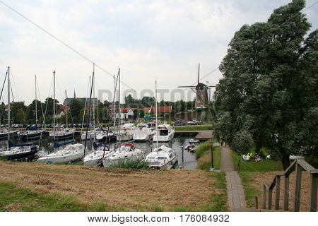 Netherlands Brouwershaven july 2016:Marina in the centre of the town many sailships and cruisers in the harbor