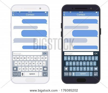 Smartphone black and white with messaging sms app, vector illustration in flat style.